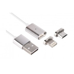 Cable Kablex USB 2.0 Macho / Apple Lightning Macho + Micro USB Conector Magnetico Silver