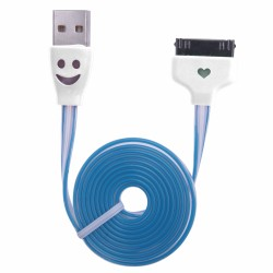 CABLE KABLEX USB 2.0 A MACHO / APPLE 30 PIN MACHO 1M LUMINOUS FLAT DK WHITE