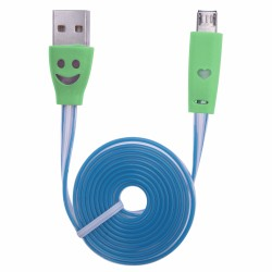 CABLE KABLEX USB 2.0 A MACHO / MICRO USB B MACHO 1M LUMINOUS FLAT DK GREEN