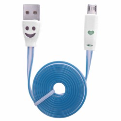 CABLE KABLEX USB 2.0 A MACHO / MICRO USB B MACHO 1M LUMINOUS FLAT DK WHITE